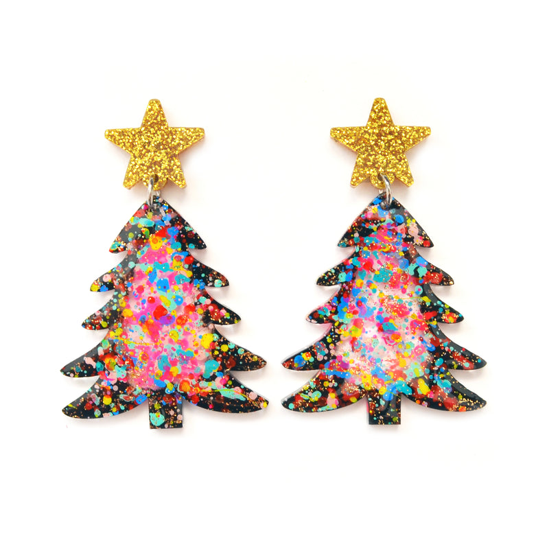Colorful Confetti Holiday Christmas Tree Resin Acrylic Earrings