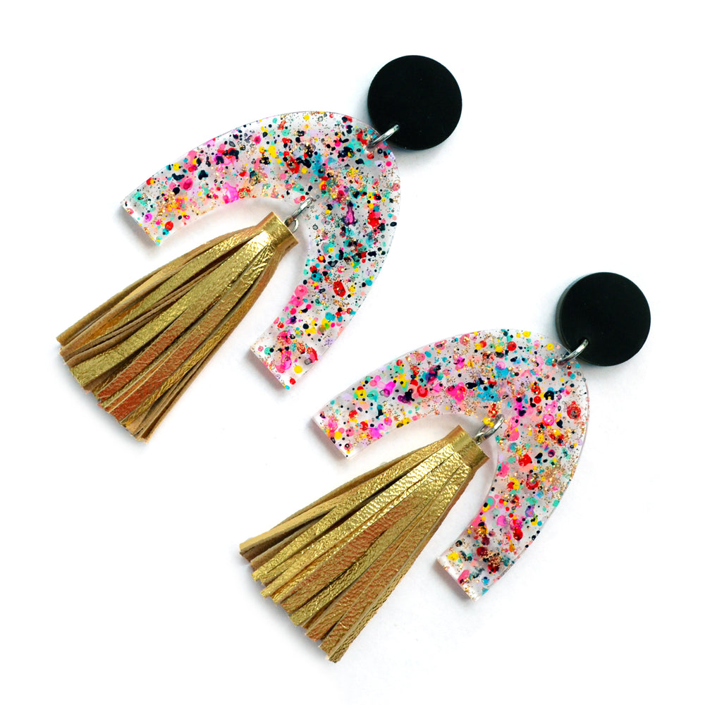 Confetti Laser Cut U Shaped Arch Earrings with Gold Leather Tassels
