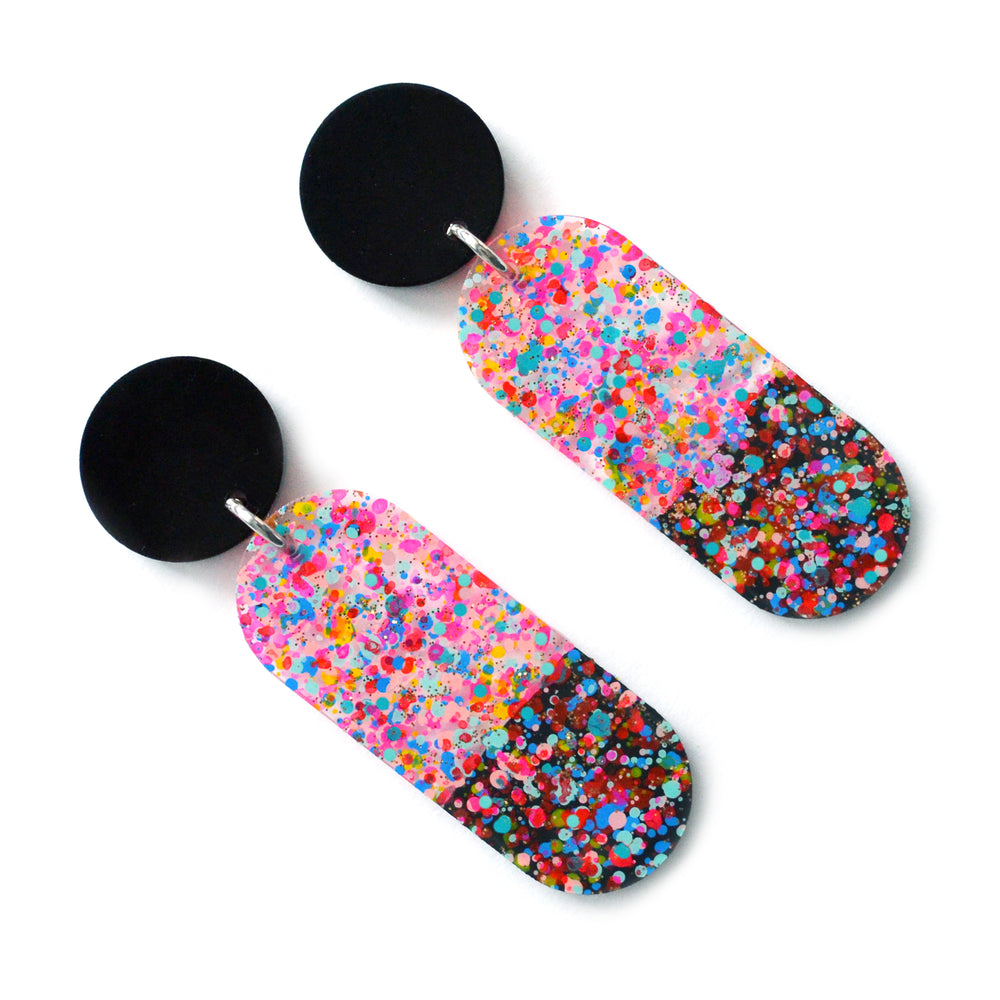 Confetti Modern Oval Drop Dangle Earrings, Laser Cut and Resin Jewelry