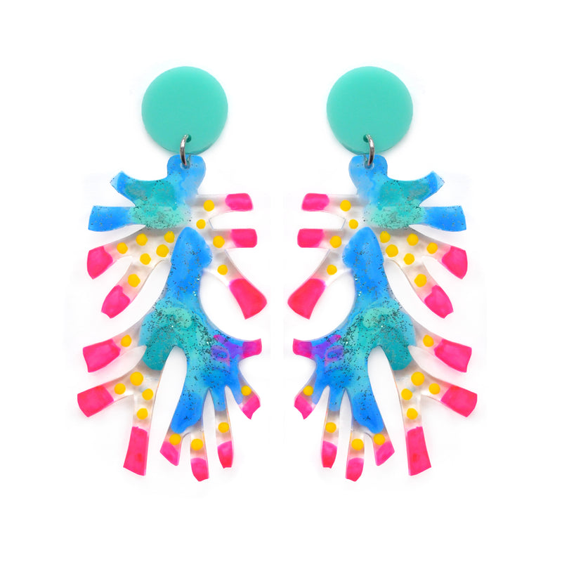Neon Pink and Blue Sea Coral Abstract Art Laser Cut Acrylic Earrings