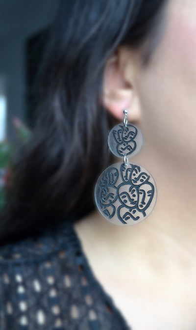 Circle Dangle Earrings with Laser Cut Faces