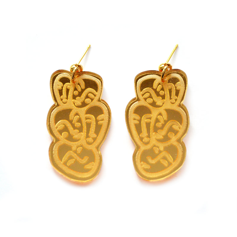 Gold Small Face Earrings