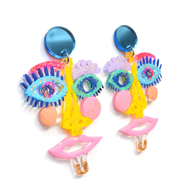 Pastel Acrylic Laser Cut Face Earrings
