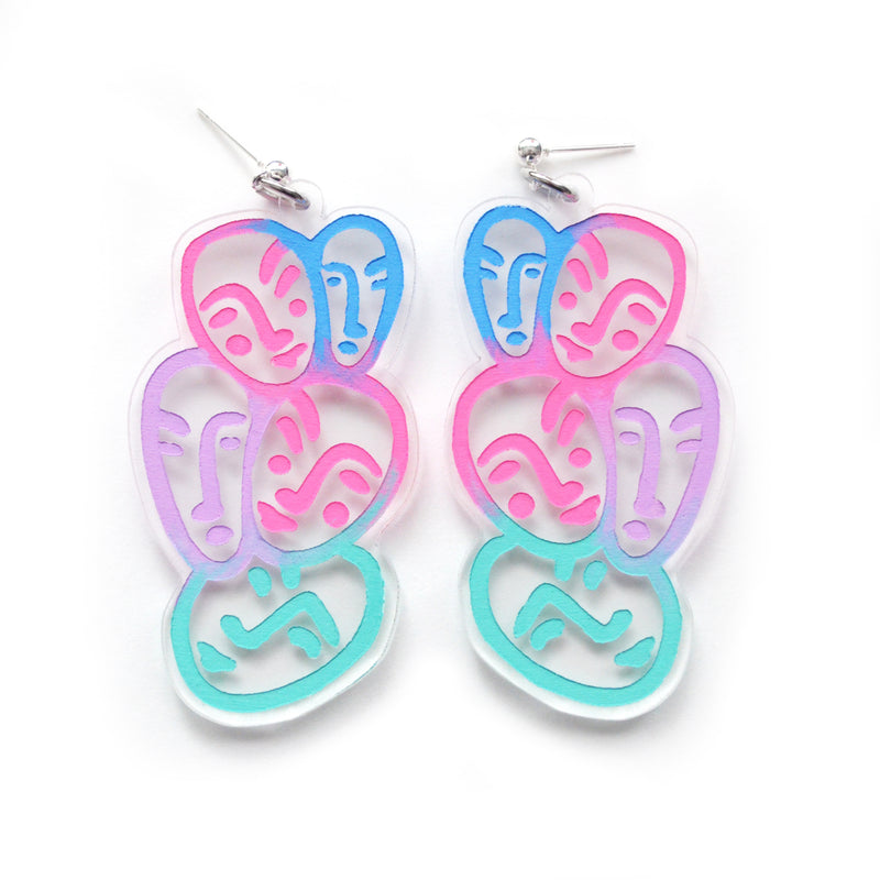 Face Earrings with Blue and Pink Ombre