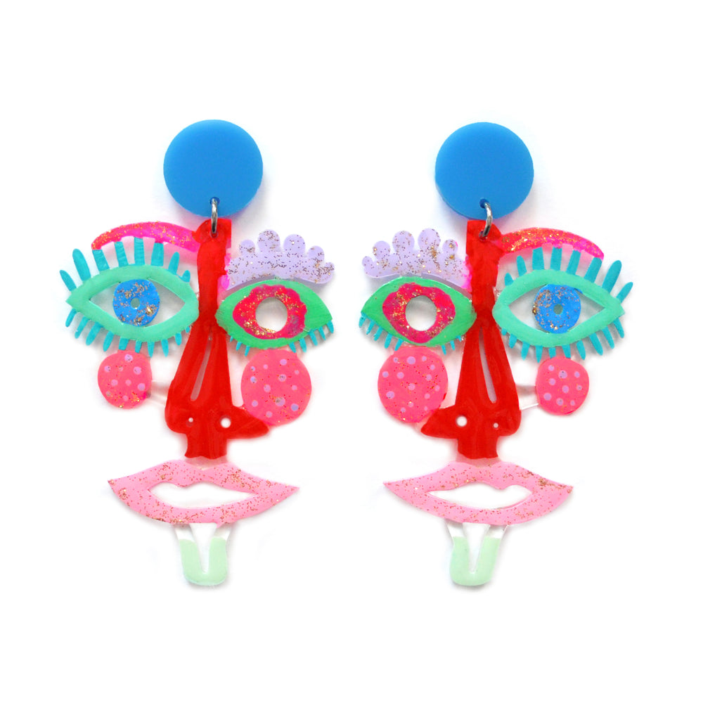Red and Blue Acrylic Face Statement Resin Earrings