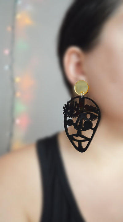 Abstract Outline Face Statement Earrings in Black Acrylic