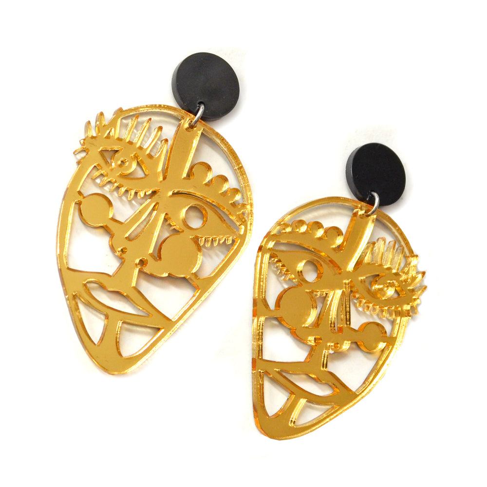 Gold Acrylic Laser Cut Outline Face Earrings