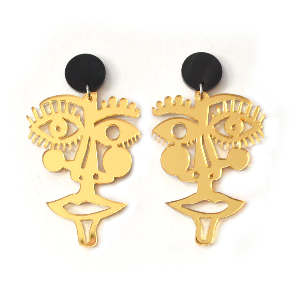 Laser Cut Face Statement Earrings in Gold Acrylic