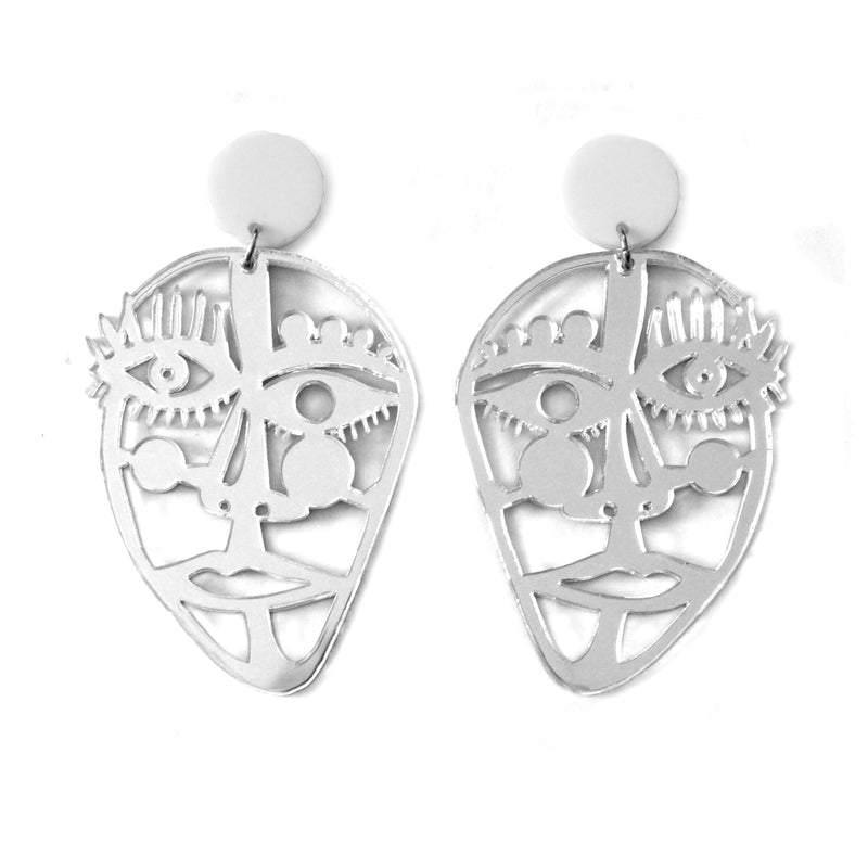 Silver Acrylic Laser Cut Outline Face Earrings