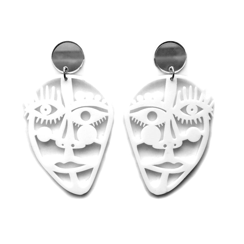 Abstract Outline Face Statement Earrings in White Acrylic