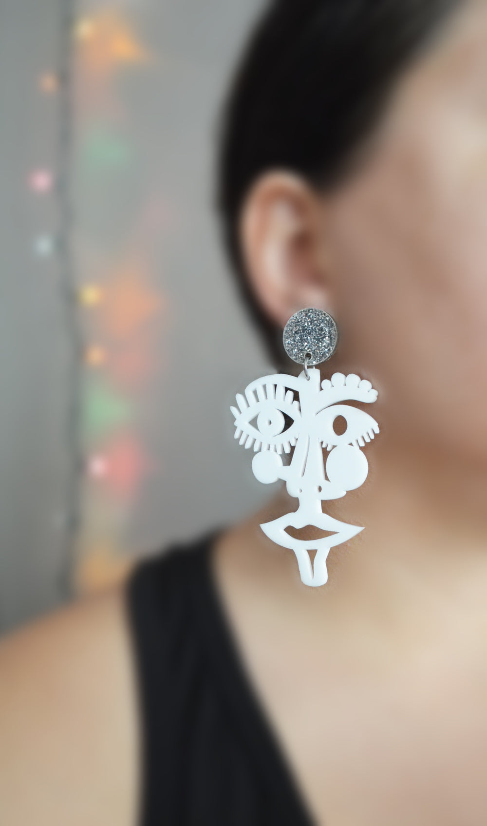 White Acrylic Laser Cut Face Earrings, Statement Jewelry