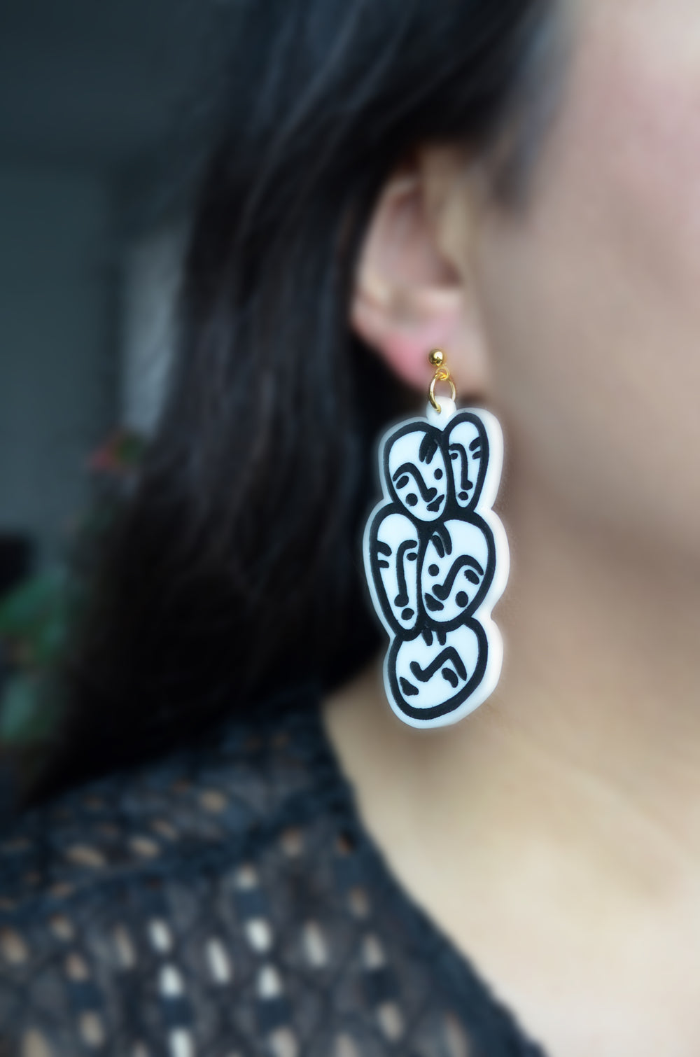 Black and White Acrylic Face Earrings