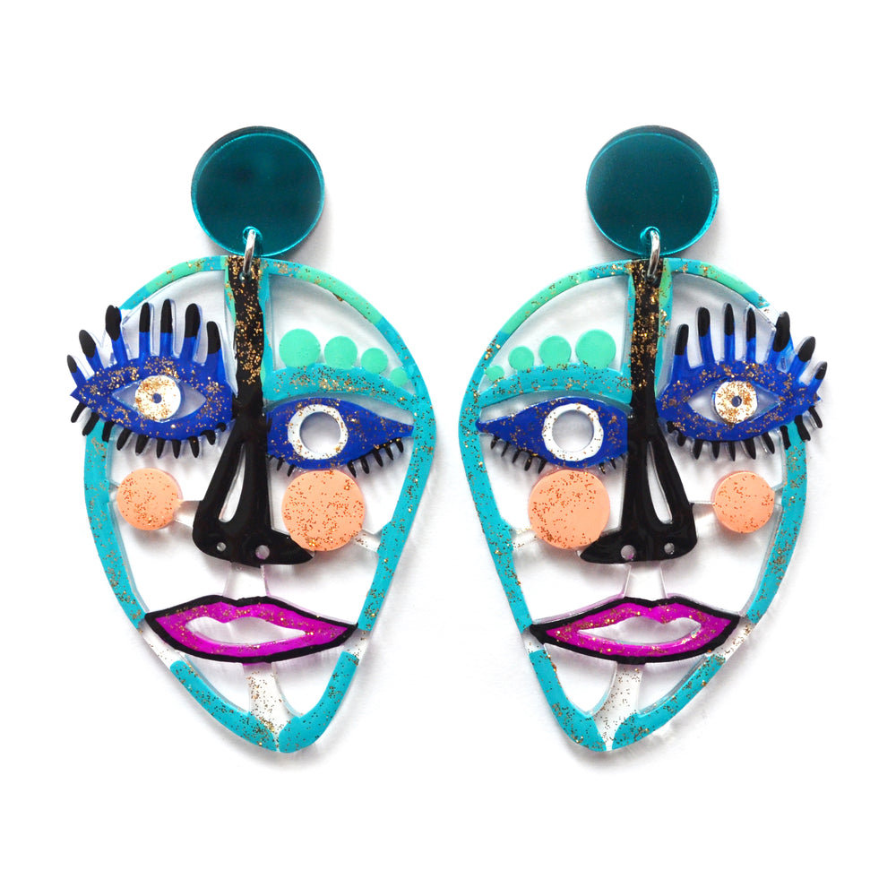 Turquoise and Blue Laser Cut Acrylic Face Earrings