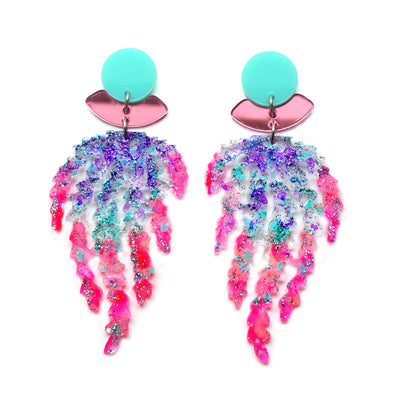 Hot Pink and Mint Mermaid Acrylic Laser Cut Earrings