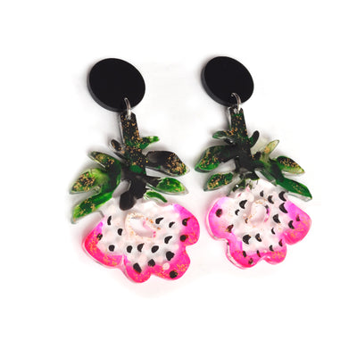 Pink Flower Resin Glitter Acrylic Earrings, Laser Cut Jewelry