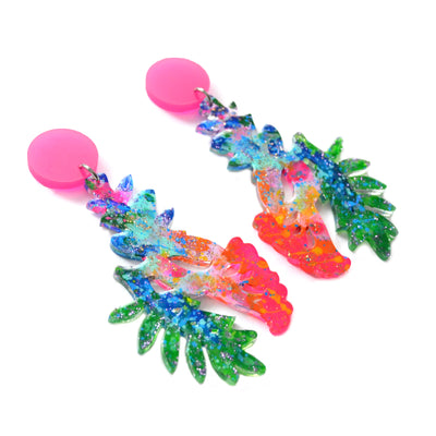 Tropical Flower Colorful Acrylic Resin Dangle Earrings