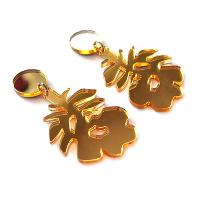 Gold Rose Metallic Laser Cut Acrylic Statement Earrings