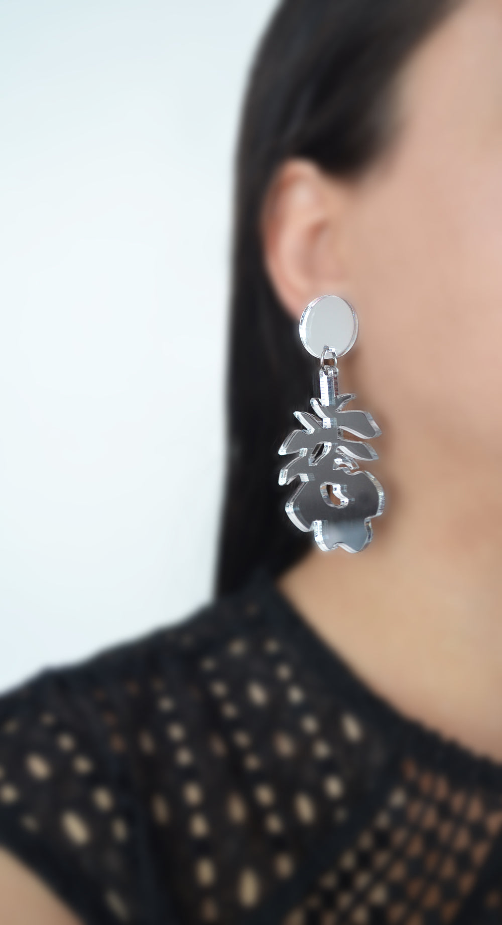Silver Rose Metallic Laser Cut Acrylic Statement Earrings