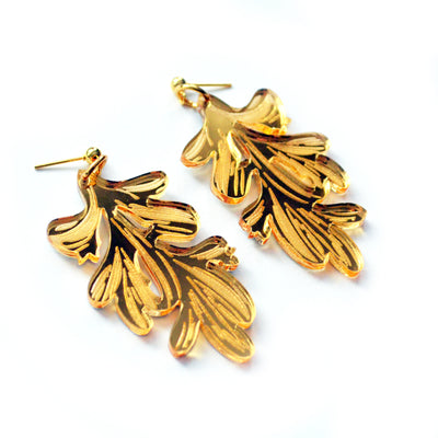 Gold Flower Leaf Acrylic Laser Cut Earrings