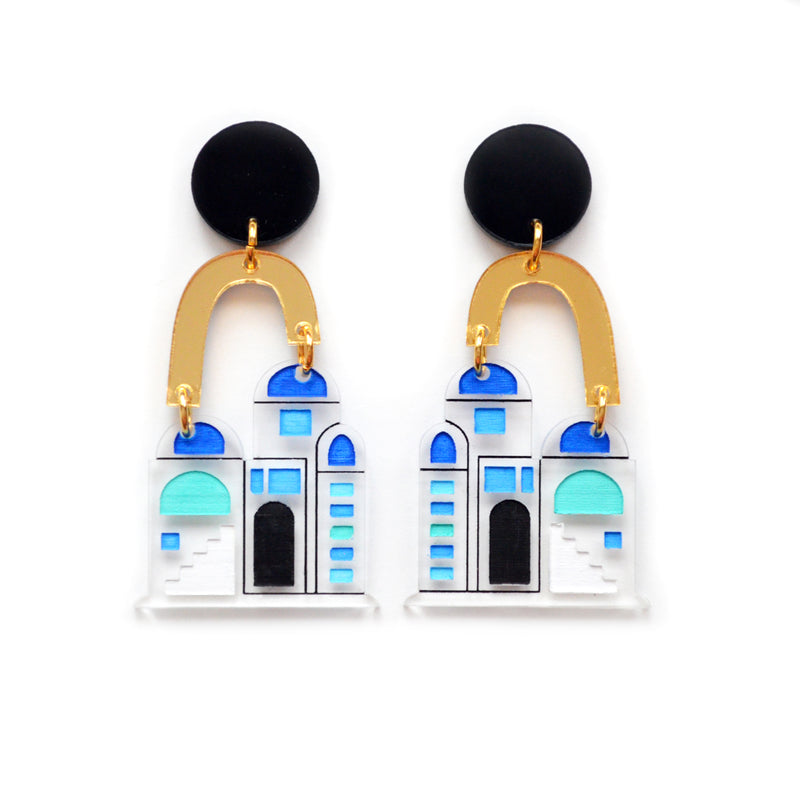 Greek Architecture Arch Statement Earrings