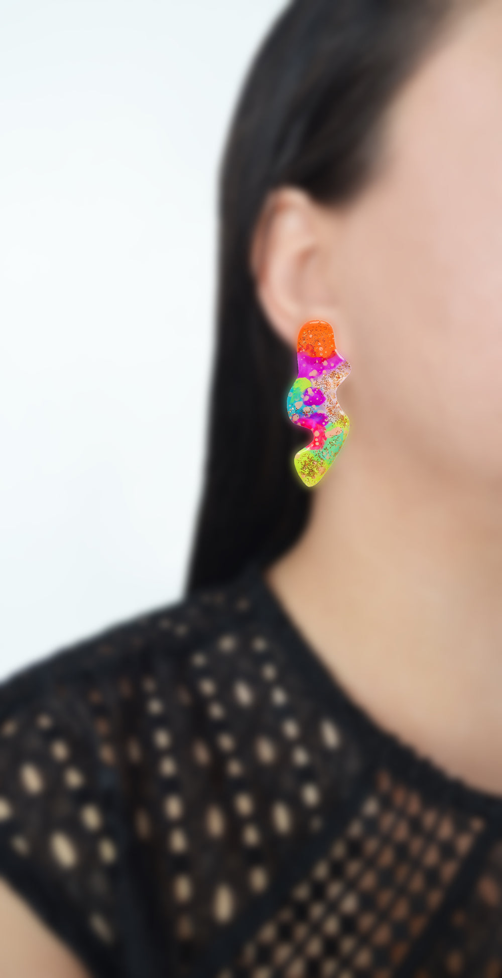 Orange and Green Neon Abstract Wavy Squiggle Resin Stud Earrings