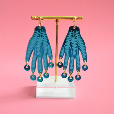 Hand Earrings in Turquoise Blue with Flower Vines