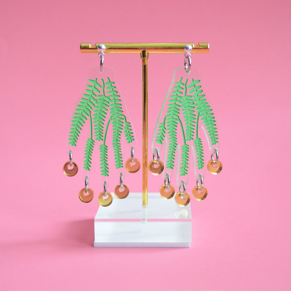 Hand Earrings with Green Vines and Gold Dangles