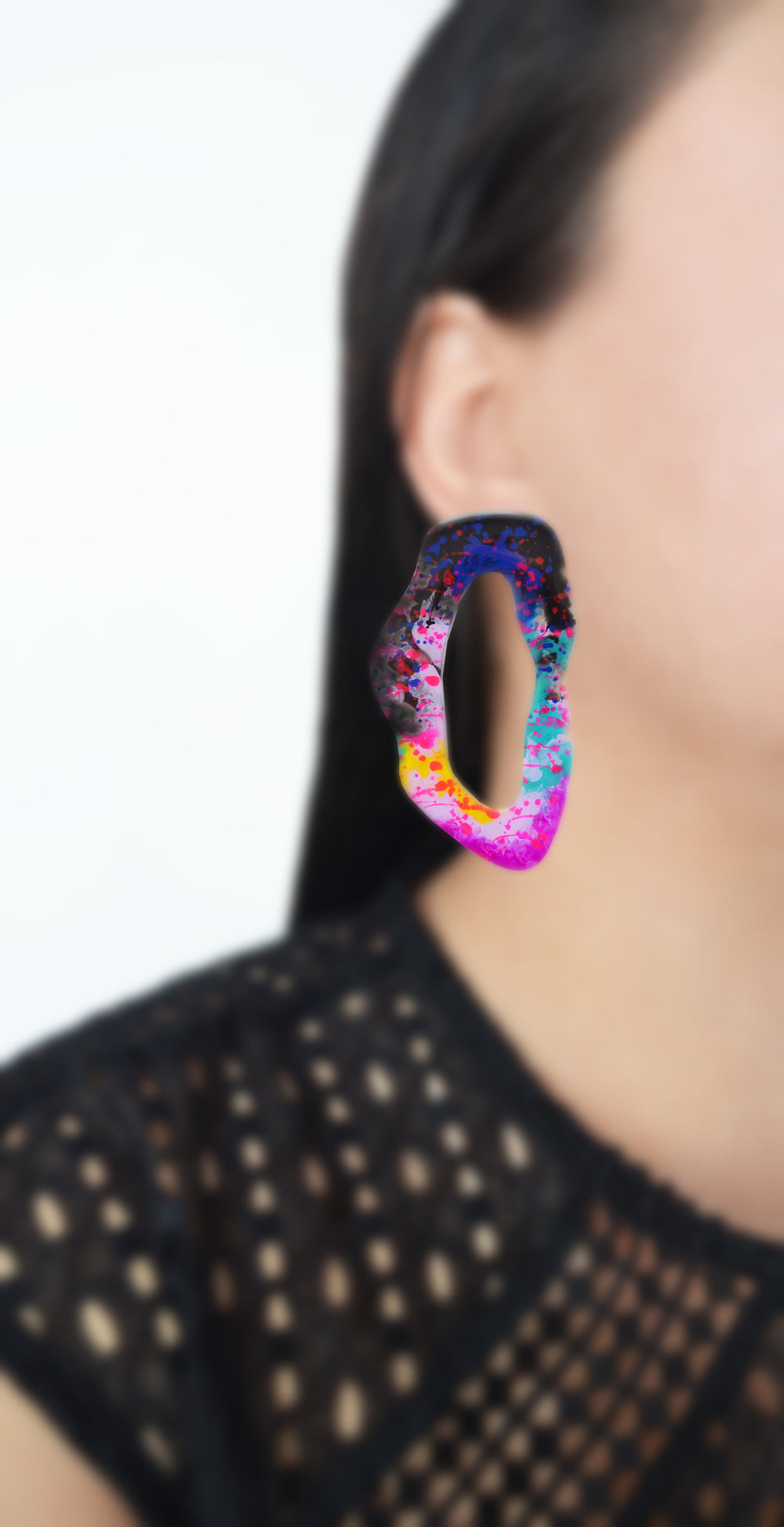 Large Colorful Purple Pink and Black Hoop Stud Laser Cut Earrings