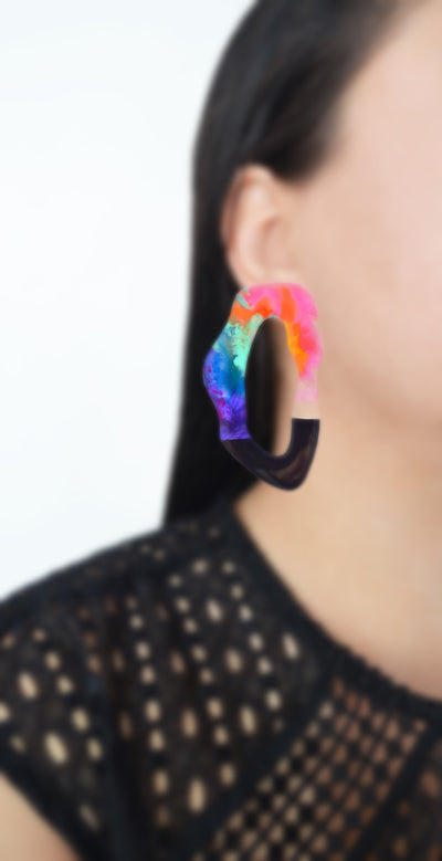 Large Colorful Rainbow Hoop Stud Laser Cut Earrings