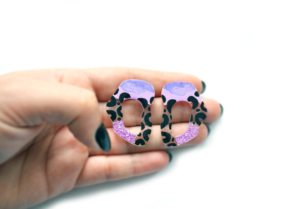 Purple Leopard Squiggle Hoop Post Stud Earrings