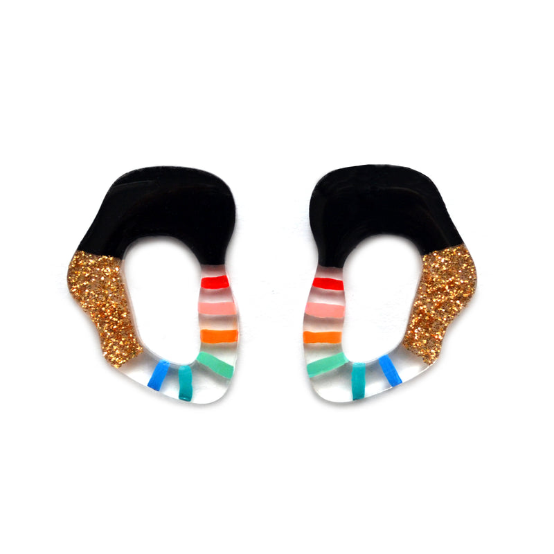 Rainbow and Gold Glitter Stripe Squiggle Hoop Post Stud Earrings