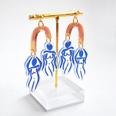 Blue Ladies Body Outline Acrylic Statement Earrings
