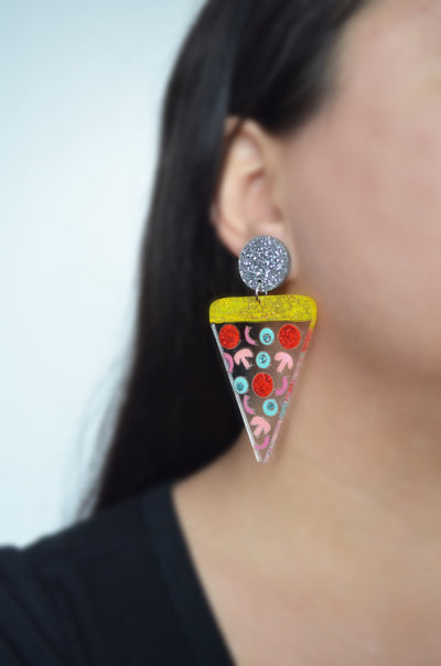 Confetti Pizza Clear Acrylic Statement Resin Earrings