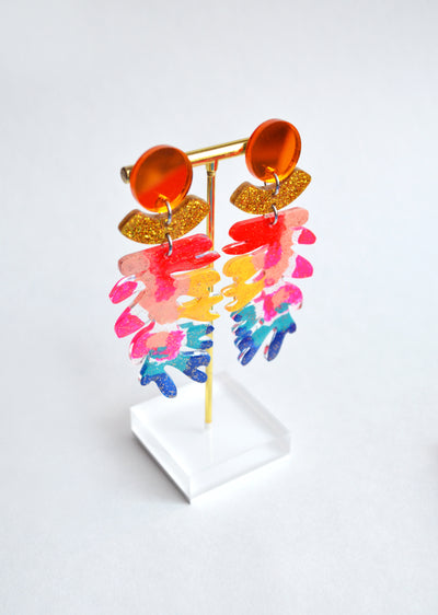 Rainbow Seaweed Leaf Acrylic Glitter Earrings, Laser Cut Jewelry