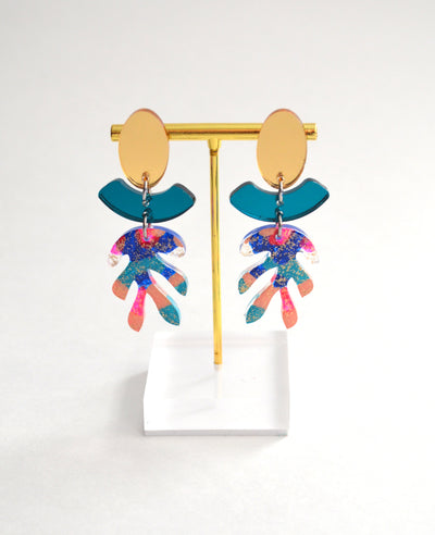 Abstract Art Blue and Gold Glitter Leaf Earrings, Laser Cut Acrylic Jewelry