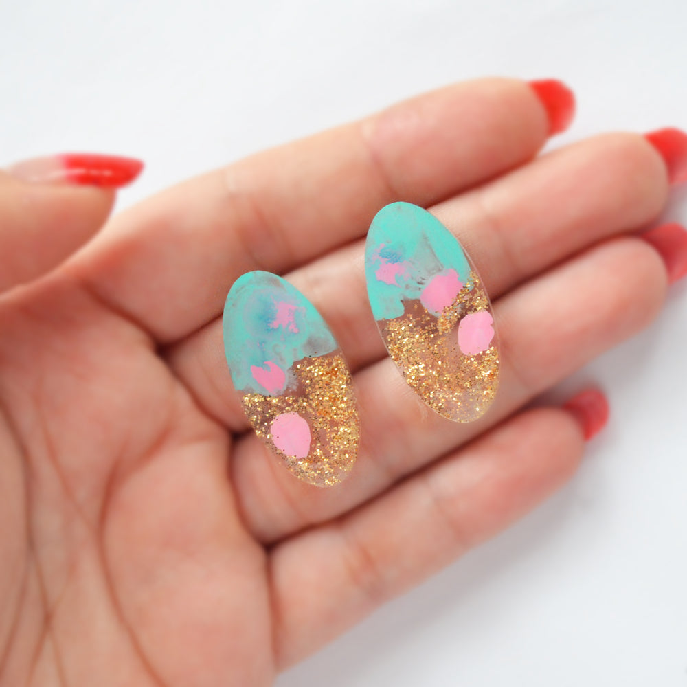 Mint and Pink with Gold Glitter Oval Resin Stud Earrings