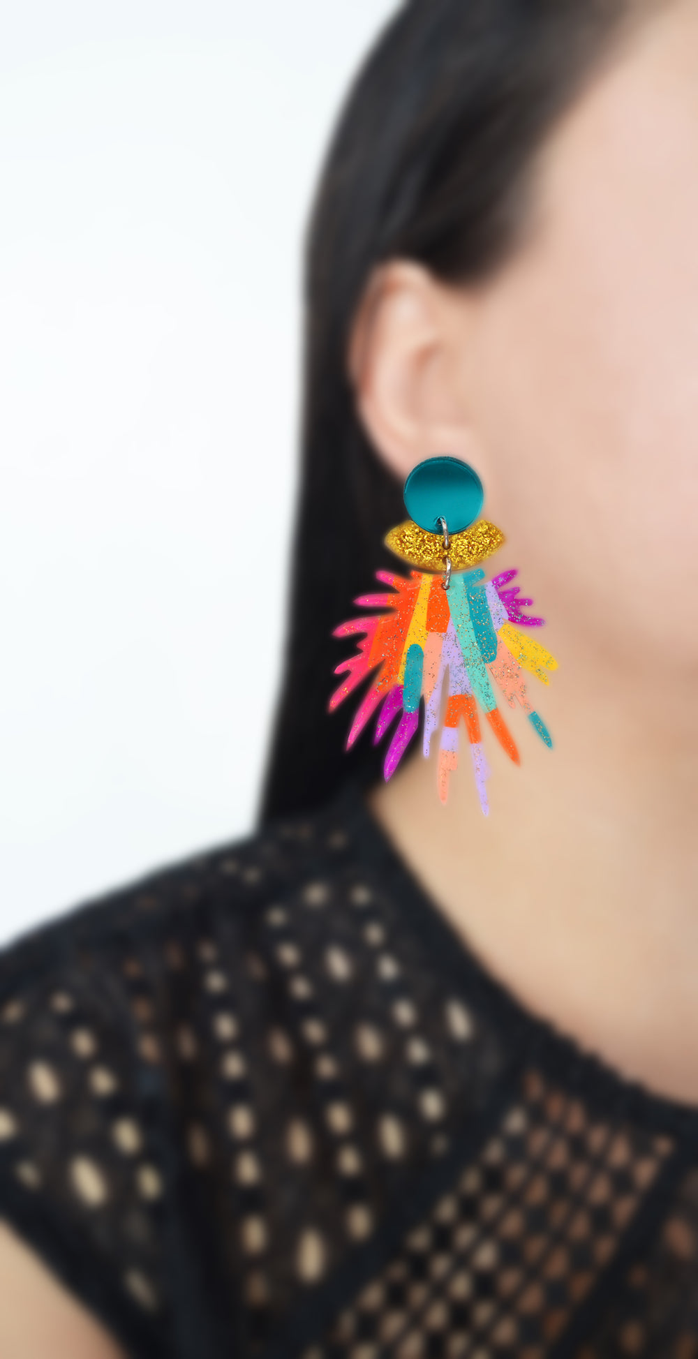Colorful Rainbow Pom Pom Glitter Resin Earrings