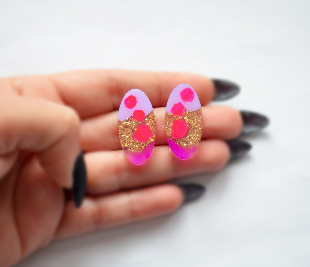 Pink and Purple Glitter Abstract Art Oval Resin Stud Earrings