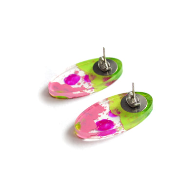 Pink and Green Glitter Abstract Art Oval Resin Stud Earrings