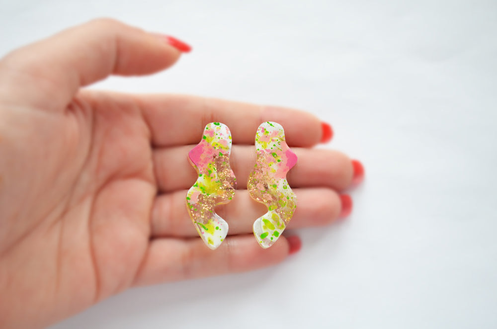 Pink and Green Wavy Squiggle Stud Earrings