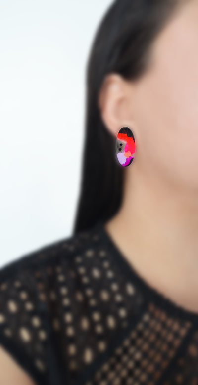Pink and Red Abstract Art Oval Resin Stud Earrings