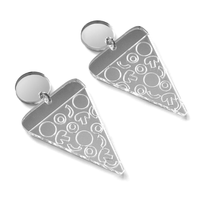 Pizza Slice Silver Acrylic Laser Cut Earrings