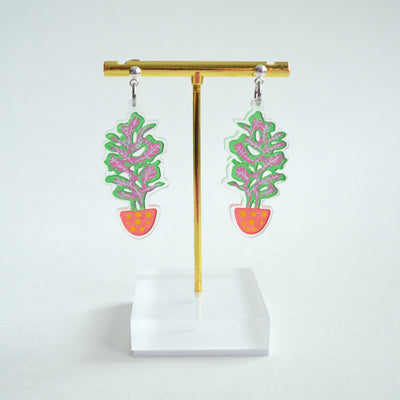 Small Plant Dangle Acrylic Earrings