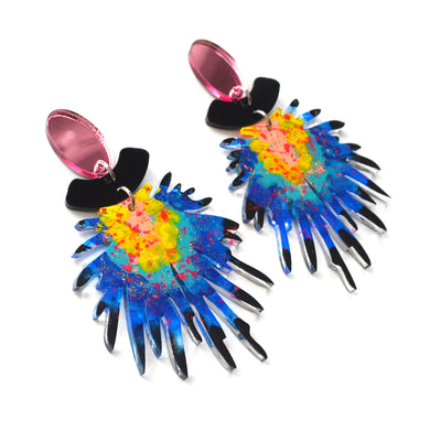 Pom Blue and Pink Laser Cut Resin Earrings, Acrylic Jewelry
