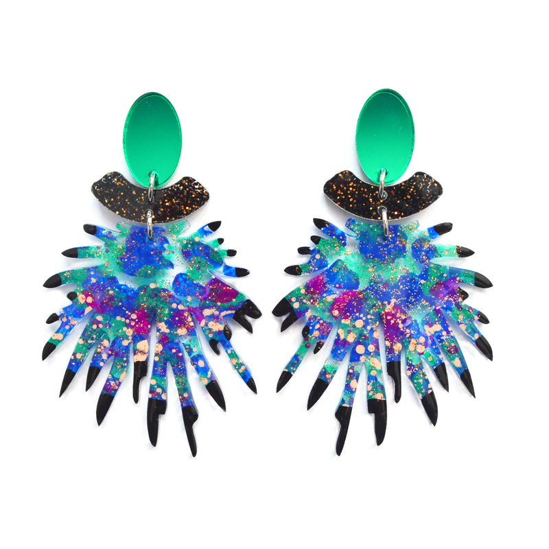 Emerald and Blue Laser Cut Resin Earrings, Acrylic Jewelry