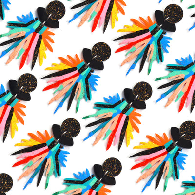 Rainbow and Black Pom Pom Acrylic Laser Cut Earrings