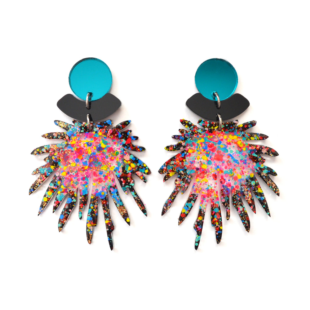 Party Confetti Pom Pom Acrylic Laser Cut Earrings