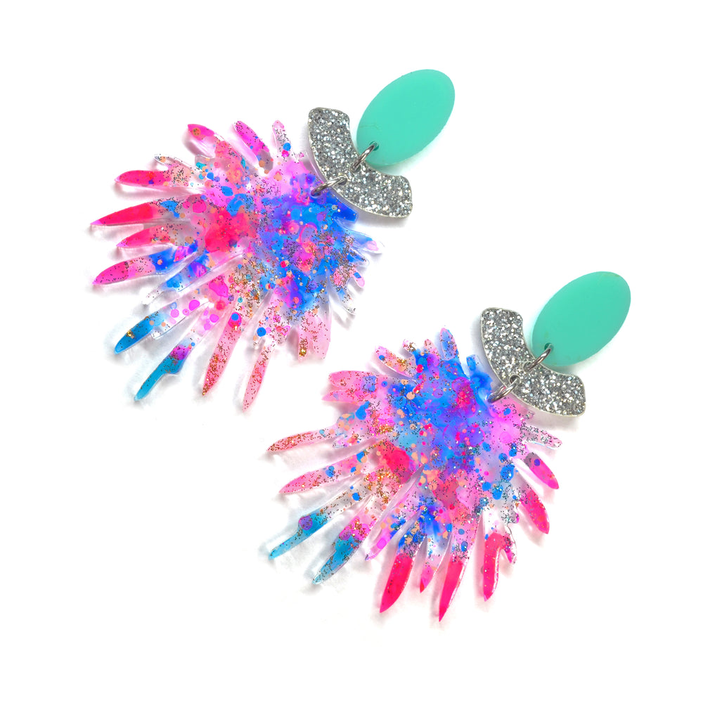 Pink Pom Pom Acrylic Laser Cut Dangle Earrings