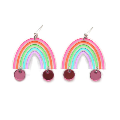 Pastel Rainbow Arch Laser Cut Earrings