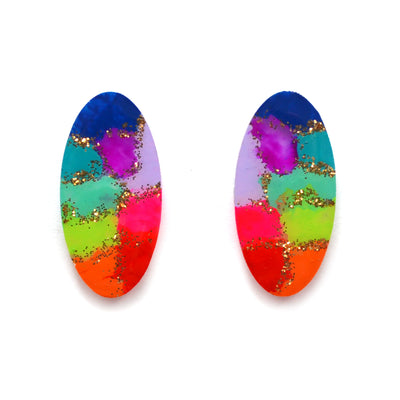 Rainbow Abstract Art Oval Resin Stud Earrings